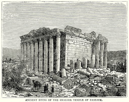 Ancient ruins of the Smaller Temple of Baalbek. Illustration from The Illustrated History of the World (Ward Lock, c 1880).