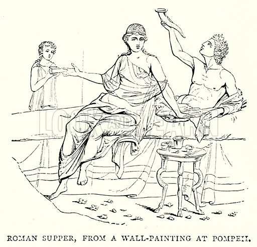 Roman Supper, from a Wall-Painting at Pompeii. Illustration from The Illustrated History of the World (Ward Lock, c 1880).