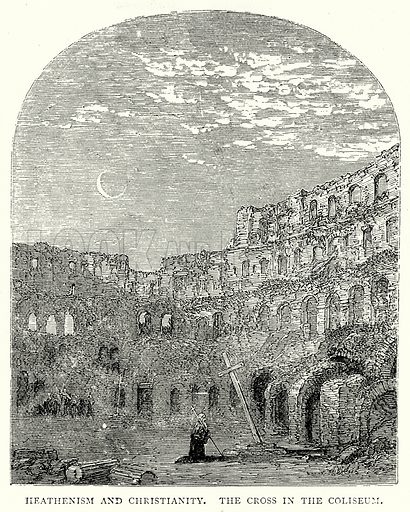 Heathenism and Christianity. The Cross in the Coliseum. Illustration from The Illustrated History of the World (Ward Lock, c 1880).