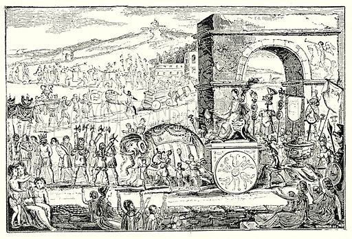 Procession on an elephant. Illustration from The Illustrated History of the World (Ward Lock, c 1880).
