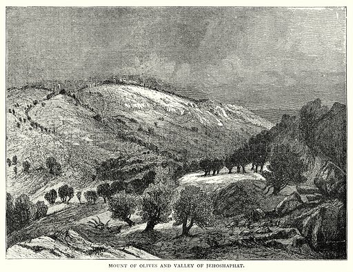Mount of Olives and Valley of Jehoshaphat. Illustration from The Illustrated History of the World (Ward Lock, c 1880).