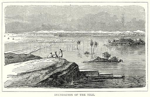 Inundation of the Nile. Illustration from The Illustrated History of the World (Ward Lock, c 1880).