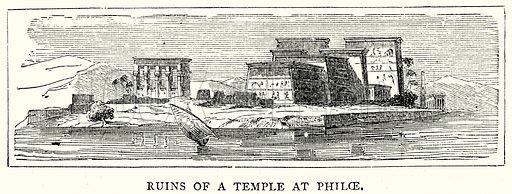 Ruins of a Temple at Philoe. Illustration from The Illustrated History of the World (Ward Lock, c 1880).