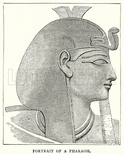 Portrait of a Pharaoh. Illustration from The Illustrated History of the World (Ward Lock, c 1880).