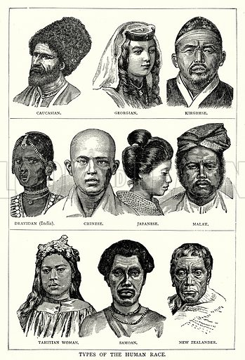 Types of the Human Race. Caucasian. Georgian. Kirghese. Dravidan (India). Chinese. Japanese. Malay. Tahitian Woman. Samoan. New Zealander. Illustration from The Illustrated History of the World (Ward Lock, c 1880).