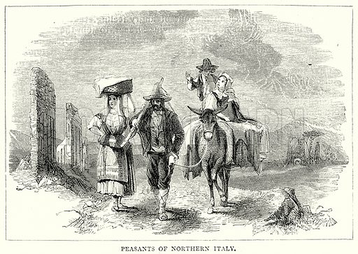 Peasants of Northern Italy. Illustration from The Illustrated History of the World (Ward Lock, c 1880).