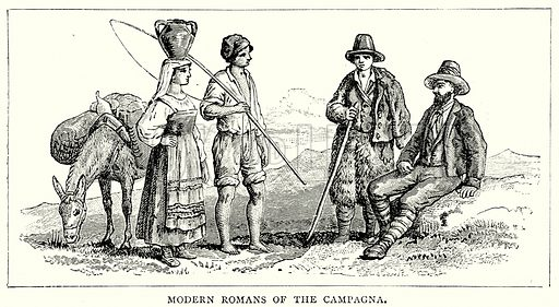 Modern Romans of the Campagna. Illustration from The Illustrated History of the World (Ward Lock, c 1880).