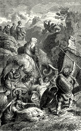 Hannibal crossing the Alps into Italy. Illustration from The Illustrated History of the World (Ward Lock, c 1880).