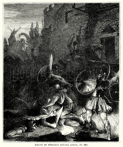 Death of Pyrrhus before Argos, in 272. Illustration from The Illustrated History of the World (Ward Lock, c 1880).