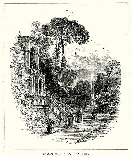 Roman House and Garden. Illustration from The Illustrated History of the World (Ward Lock, c 1880).
