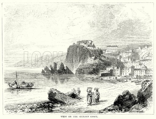 View on the Sicilian Coast. Illustration from The Illustrated History of the World (Ward Lock, c 1880).