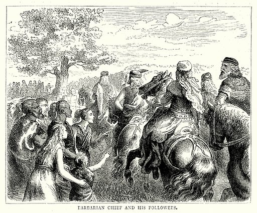 Barbarian Chief and his Followers. Illustration from The Illustrated History of the World (Ward Lock, c 1880).
