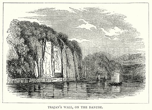 Trajan's Wall, on the Danube. Illustration from The Illustrated History of the World (Ward Lock, c 1880).
