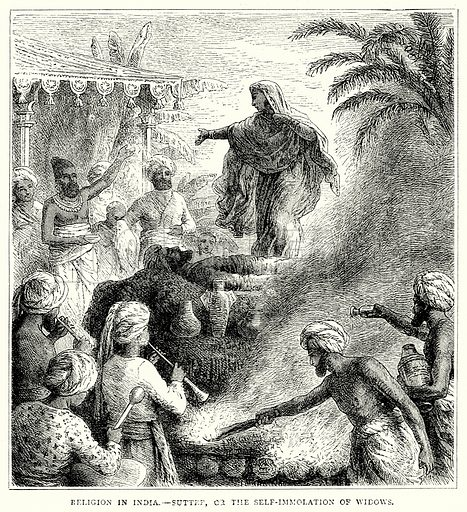 Religion in India. – Suttee, or the Self-Immolation of Widows. Illustration from The Illustrated History of the World (Ward Lock, c 1880).
