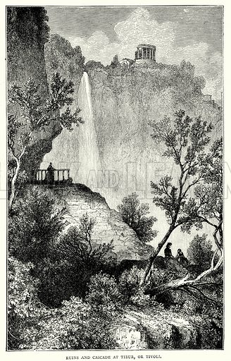 Ruins and Cascade at Tibur, or Tivoli. Illustration from The Illustrated History of the World (Ward Lock, c 1880).