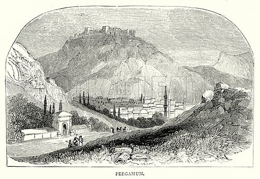 Perganum. Illustration from The Illustrated History of the World (Ward Lock, c 1880).