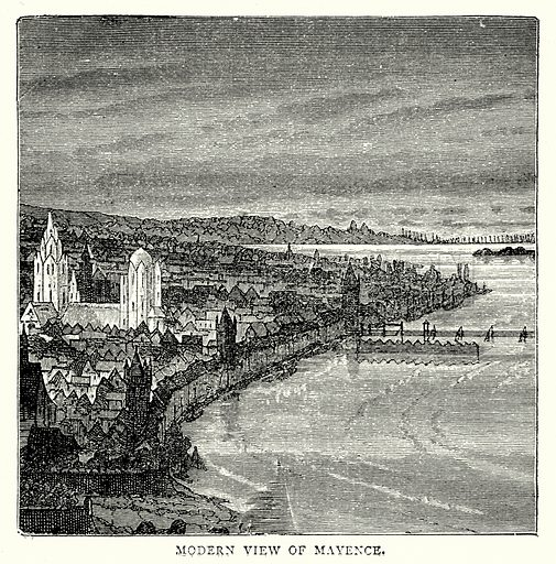 Modern view of Mayence. Illustration from The Illustrated History of the World (Ward Lock, c 1880).