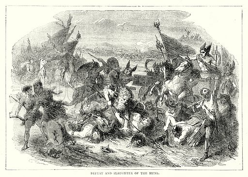 Defeat and Slaughter of the Huns. Illustration from The Illustrated History of the World (Ward Lock, c 1880).