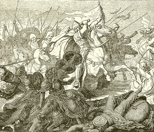 Charles Martel at Poictiers. Illustration from The Illustrated History of the World (Ward Lock, c 1880).