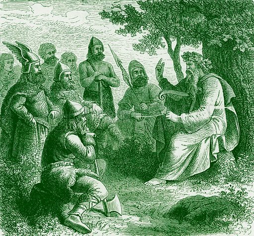 A Bard Singing the Deeds of Teuton Warriors. Illustration from The Illustrated History of the World (Ward Lock, c 1880).