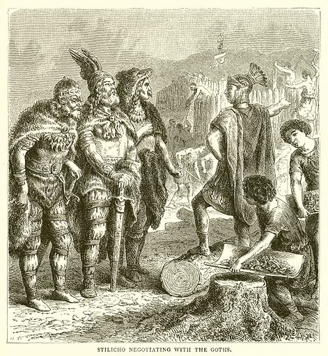 Stilicho Negotiating with the Goths. Illustration from The Illustrated History of the World (Ward Lock, c 1880).