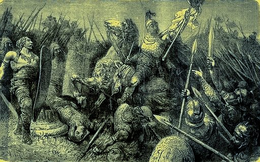 Belisarius leads the Roman Army against the Goths. Illustration from The Illustrated History of the World (Ward Lock, c 1880).