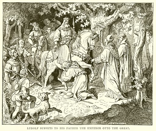 Ludolf submits to his Father the Emperor Otto the Great. Illustration from The Illustrated History of the World (Ward Lock, c 1880).