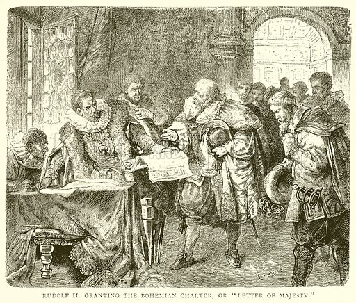 Rudolf II granting the Bohemian Charter, or