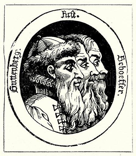 Johann Gutenberg. Illustration from The Illustrated History of the World (Ward Lock, c 1880).