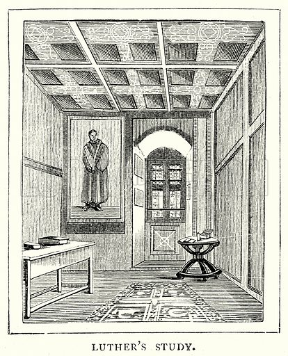 Luther's Study. Illustration from The Illustrated History of the World (Ward Lock, c 1880).