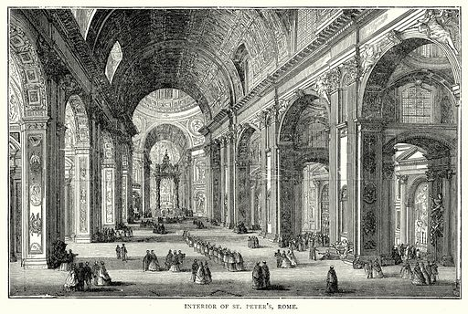 Interior of St. Peter's, Rome. Illustration from The Illustrated History of the World (Ward Lock, c 1880).