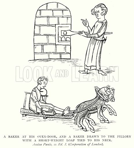 A Baker at his Oven-Door, and a Baker drawn to the Pillory with a Short-Weight Loaf Tied to his Neck. Illustration from A Short History of the English People by J R Green (Macmillan, 1892).