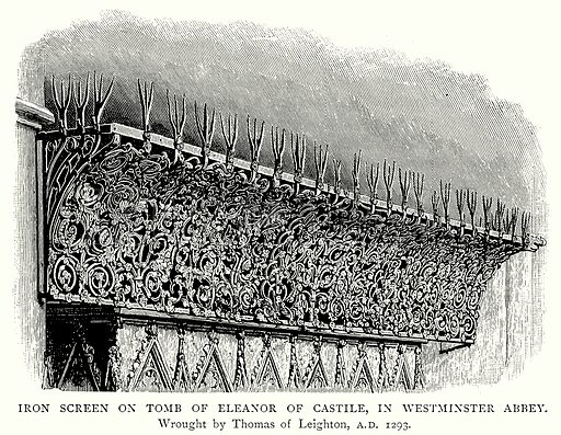 Iron Screen on Tomb of Eleanor of Castile, in Westminster Abbey. Illustration from A Short History of the English People by J R Green (Macmillan, 1892).