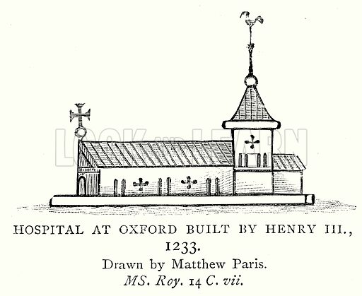 Hospital at Oxford built by Henry III., 1233. Illustration from A Short History of the English People by J R Green (Macmillan, 1892).