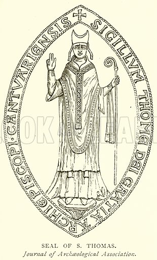 Seal of S Thomas. Illustration from A Short History of the English People by JR Green (Macmillan, 1892).
