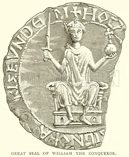 Great Seal of William the Conqueror. Illustration from A Short History of the English People by J R Green (Macmillan, 1892).
