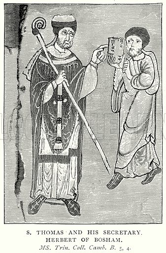St Thomas and his Secretary Herbert of Bosham. Illustration from A Short History of the English People by J R Green (Macmillan, 1892).