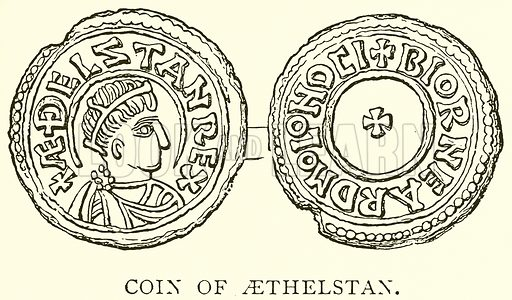 Coin of Aethelstan. Illustration from A Short History of the English People by JR Green (Macmillan, 1892).
