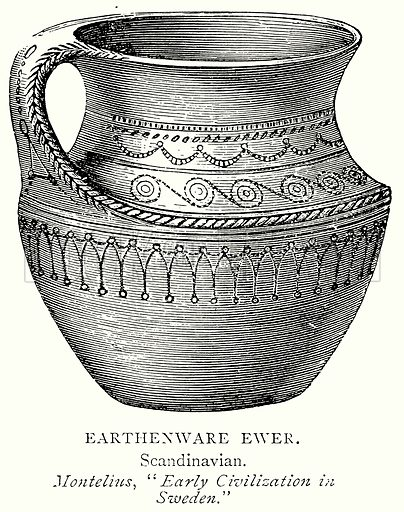 Earthenware Ewer. Illustration from A Short History of the English People by J R Green (Macmillan, 1892).