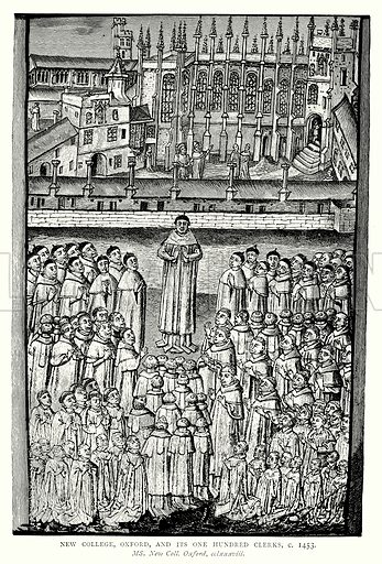New College, Oxford, and its One Hundred Clerks, c 1453. Illustration from A Short History of the English People by JR Green (Macmillan, 1892).