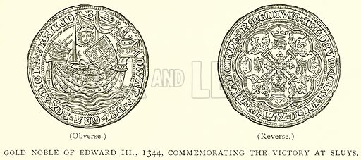 Gold Noble of Edward III, 1344, Commemorating the Victory at Sluys. Illustration from A Short History of the English People by JR Green (Macmillan, 1892).
