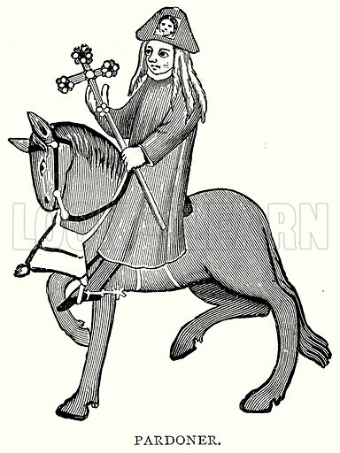 Pardoner. Illustration from A Short History of the English People by JR Green (Macmillan, 1892).