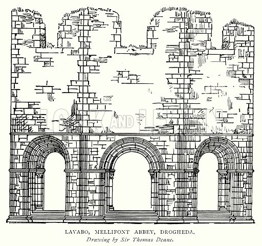 Lavabo, Mellifont Abbey, Drogheda. Illustration from A Short History of the English People by J R Green (Macmillan, 1892).