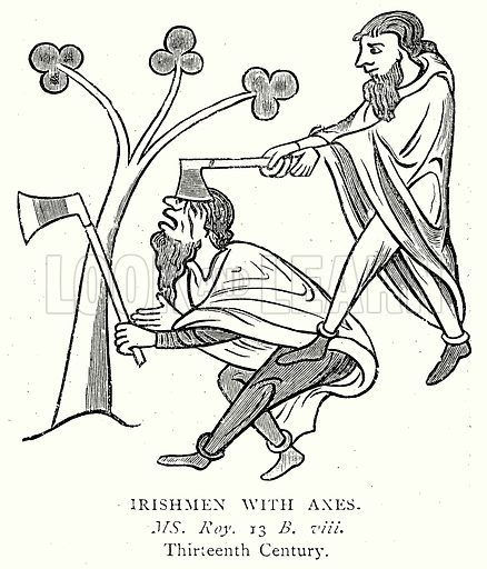 Irishmen with Axes. Illustration from A Short History of the English People by J R Green (Macmillan, 1892).