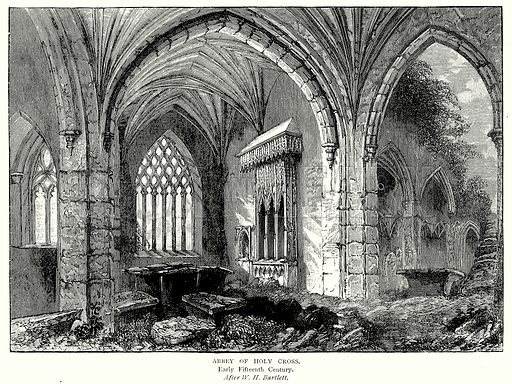 Abbey of Holy Cross. Illustration from A Short History of the English People by J R Green (Macmillan, 1892).