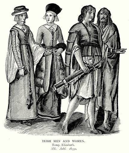 Irish Men and Women. Illustration from A Short History of the English People by J R Green (Macmillan, 1892).