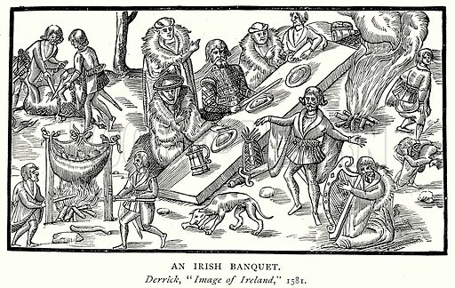 An Irish Banquet. Illustration from A Short History of the English People by JR Green (Macmillan, 1892).