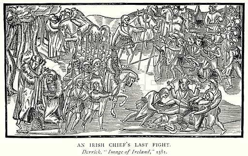 An Irish Chief's Last Fight. Illustration from A Short History of the English People by J R Green (Macmillan, 1892).
