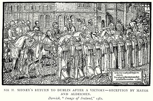 Sir H. Sidney's return to Dublin after a Victory--Reception by Mayor and Aldermen. Illustration from A Short History of the English People by J R Green (Macmillan, 1892).