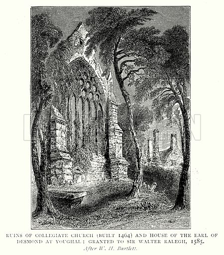 Ruins of Collegiate Church (Built 1464) and House of the Earl of Desmond at Youghal; Granted to Sir Walter Ralegh, 1585. Illustration from A Short History of the English People by J R Green (Macmillan, 1892).